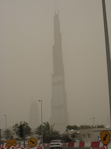 Burj Dubai in the sandstorm, soon to be the world's tallest building (but not for long if Abu Dhabi has their way.....)