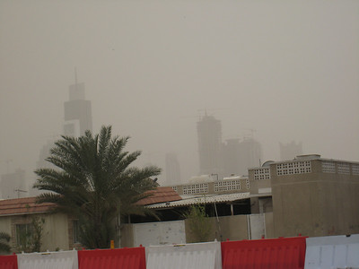 The buildings of SZR through the storm.