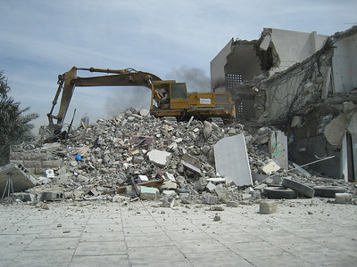 The building next-but-one to Ravis is now a pile of rubble.