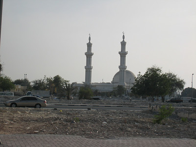 The local mosque with cleared areas in front of it.
