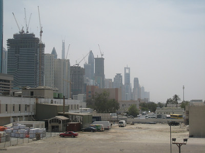 The buildings on Sheikh Zayed Road on the left.