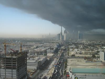 The looming pall of smoke spreads over Dubai.