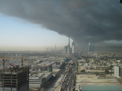 Taken from the BurJuman business tower looking down Sheikh Zayed Road at 9:10am.