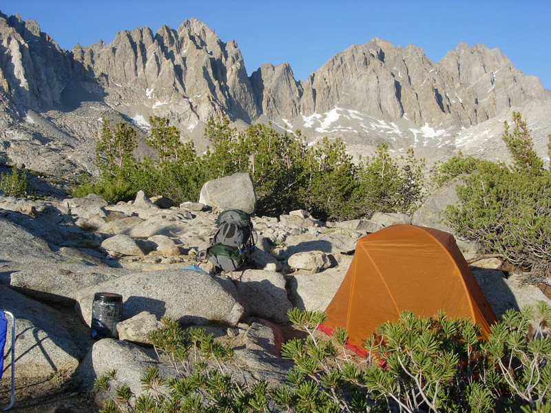 We set up camp in a magnificent basin formed by the Palisades, Isosceles and Colombine Peaks.  Elevation is about 11,300 ft.