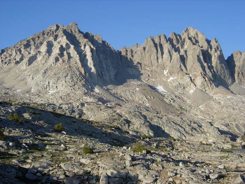 Mount Agassiz (leftmost) and Mount Winchell as viewed from our base camp.
