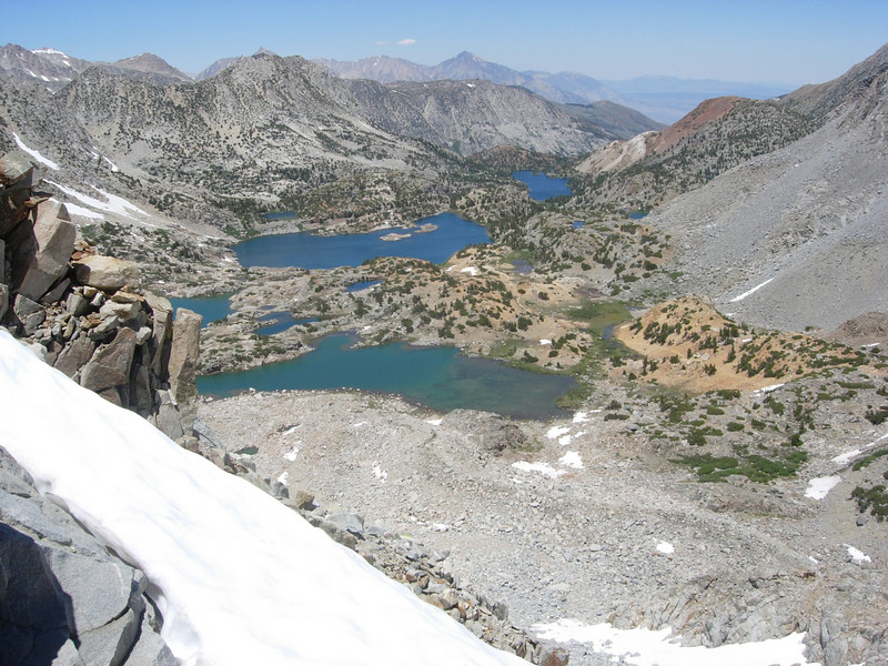 The view from Bishop Pass back toward South Lake (not visible).  Saddle Rock Lake, our starting point on Wednesday morning, is the middle of the three larger lakes.