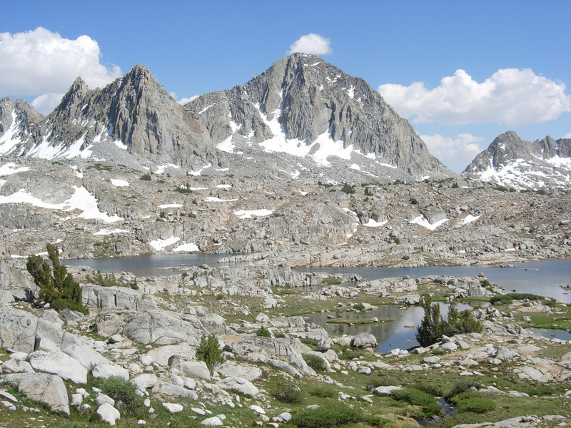 One of the many lakes in Dusy Basin.  We leave the trail at this point and head cross country over the ridgeline in the foreground.