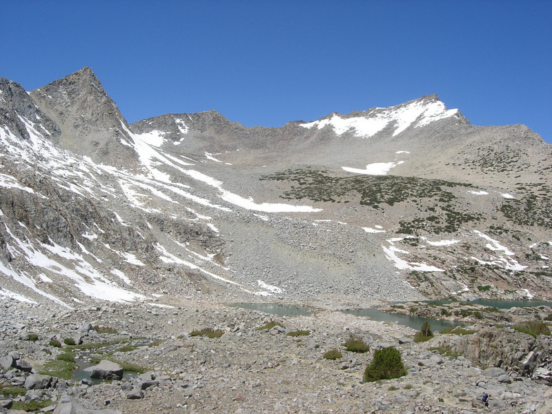 The next day we begin our ascent of Bishop Pass.  The views are magnificent but the climb is tough for a couple of old guys.