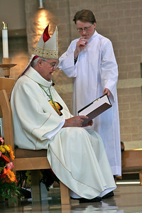 The bishop asks Duy several questions in preparation for ordination.