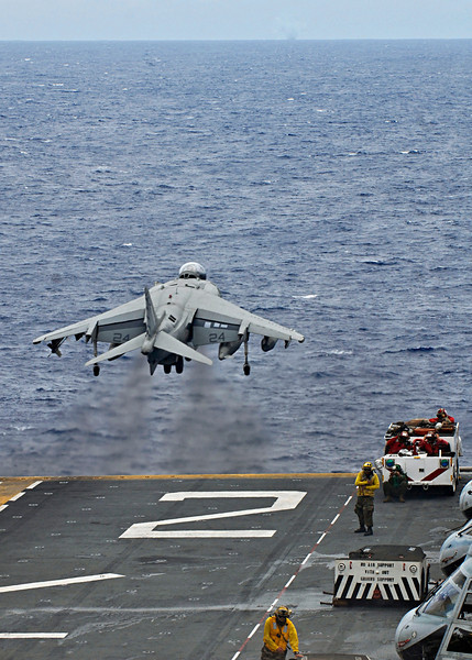 P14.1 / Choice 3 of 6 / Free for use/ <br /> <br /> 090810-N-9950J-179<br /> PHILIPPINE SEA (Aug. 10, 2009) An AV-8B Harrier jump-jet lifts off the flight deck of the amphibious assault ship USS Essex (LHD 2) during the fly off of Marine Attack Squadron (VMA) 211. Essex is the lead ship of the only forward-deployed U.S. Amphibious Ready Group and serves as the flagship for Task Force 76. (U.S. Navy photo by Mass Communication Specialist 2nd Class Greg Johnson/Released)