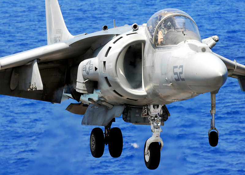 P14.1 / Choice 6 of 6 / Free for use. <br /> <br /> 080515-N-2183K-049 <br /> PACIFIC OCEAN (May 15, 2008) An AV-8B Harrier jet lands on the flight deck of the amphibious assault ship USS Peleliu (LHA 5). Peleliu is on a scheduled deployment. U.S. Navy photo by Mass Communication Specialist 3rd Class Dustin Kelling (Released)
