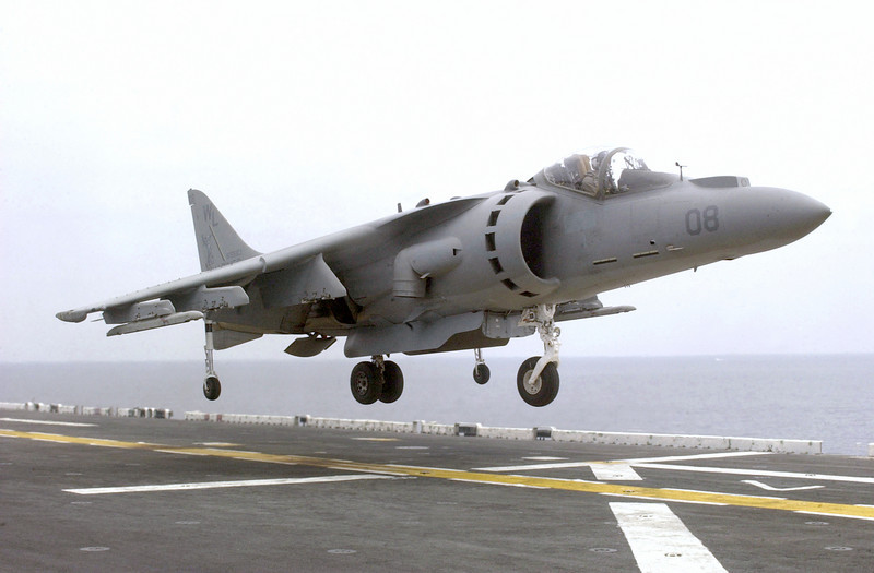 P14.1 / Choice 1 of 6 / Free for use<br /> <br /> 020803-N-1665B-004<br /> ABOARD USS BONHOMME RICHARD (Aug. 3, 2002) ñ- An AV8B Harrier from Marine Attack Squadron 311 (VMA 311), from Marine Corps Base Yuma, Arizona practices landing on the flight deck of the USS Bonhomme Richard (LHD 6) during flight operations.<br /> Bonhomme Richard is currently conducting deck landing qualifications in the Southern California area.<br /> <br /> Official U.S Navy Photo by Photographer's Mate 3rd Class Staci M. Bitzer.