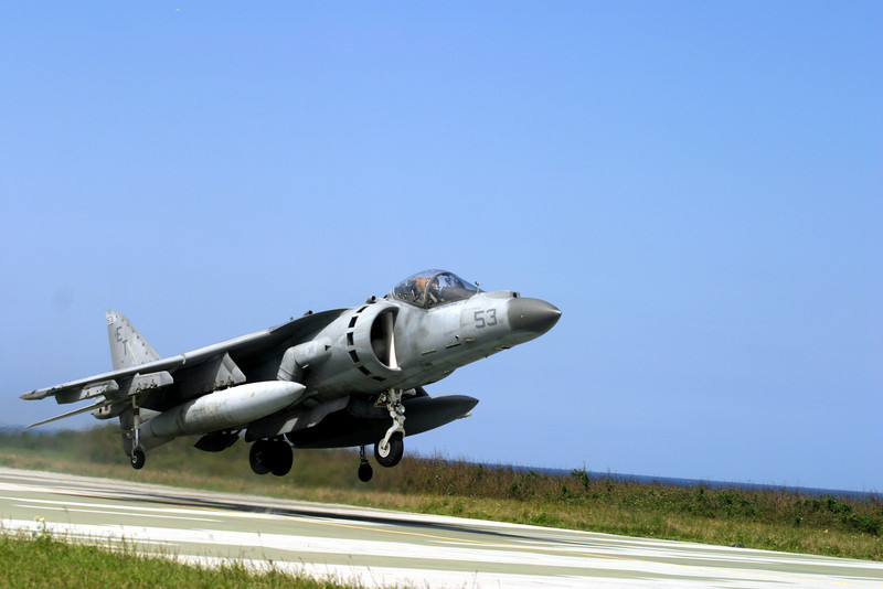 P14.1 / Choice 5 of 6 / Free for use. <br /> <br /> 060413-M-3816G-008.jpg<br /> IE SHIMA, OKINAWA, Japan — An AV-8B Harrier II attack jet, piloted by Capt. Niel E. Booher, takes off during field carrier landing practice at Ie Shima April 27. Booher was one of nine Harrier pilots who refreshed his pilot skills with two days landing practice April 25 and 27. Booher is with Marine Attack Squadron 214, 3rd Marine Aircraft Wing, currently serving as the Harrier detachment for Marine Medium Helicopter Squadron 265, 1st Marine Aircraft Wing.   (Official U.S. Marine Corps photo by Lance Cpl. W. Zach Griffith) (Released)