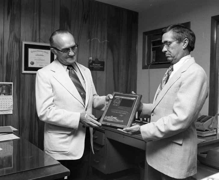 Vern Valish and J. Lowell Marvin, Special Agent for Economy Fire & Casualty Company