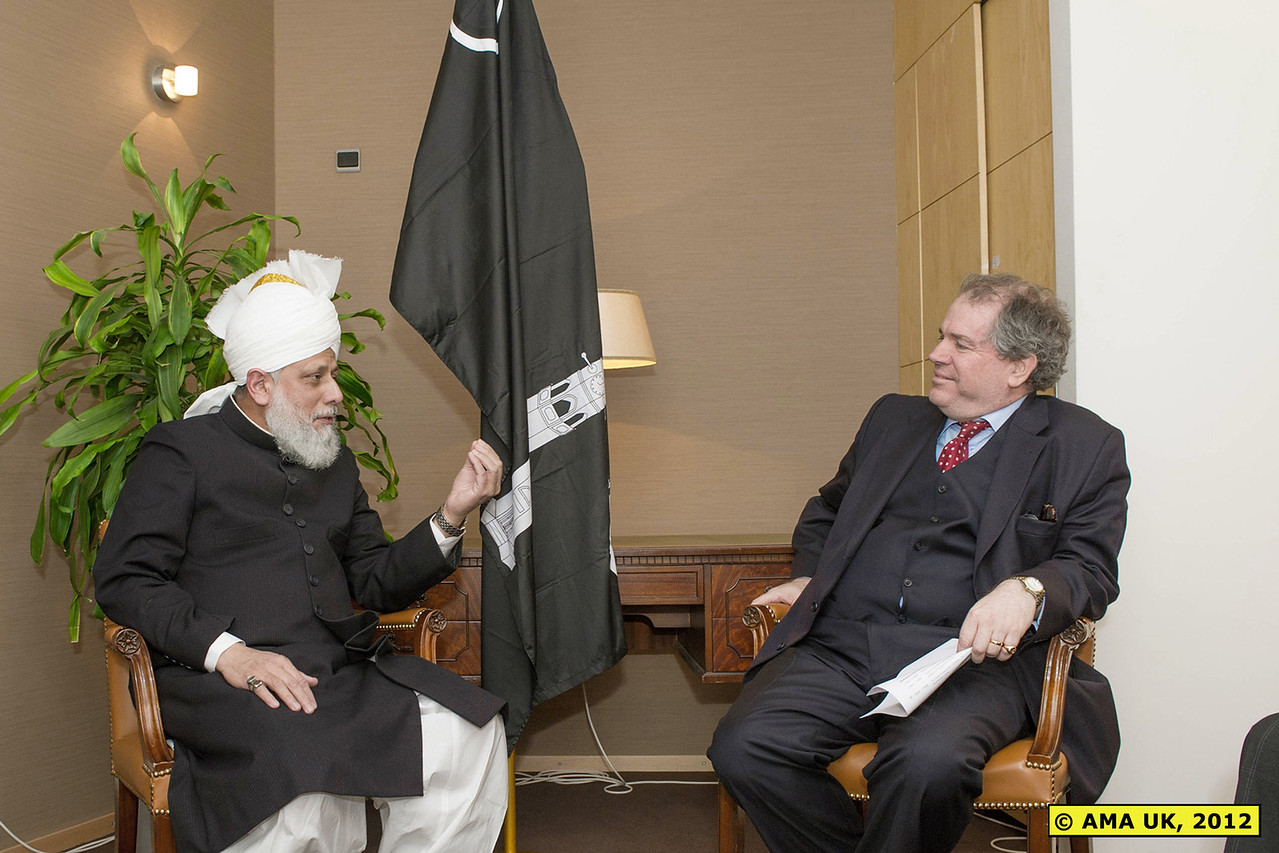 EU3_0016:  Meeting with Dr Charles Tannock – (MEP London & Chair of European Parliament Friends of Ahmadiyya Muslims Group) :    Hadhrat Mirza Masroor Ahmad spoke about the persecution faced by Ahmadi Muslims in Pakistan. His Holiness said that each month Ahmadi Muslims were being brutally martyred in Pakistan. Charles Tannock MEP said he would continue to support the Ahmadiyya Muslim Jamaat in all respects. He said that earlier in the day he had met the Pakistani Foreign Minister and questioned her directly about the persecution faced by the Ahmadiyya Muslim Jama'at. Hadhrat Mirza Masroor Ahmad said that a key principle of humanity was that human beings should always being willing to help all those who are deprived.