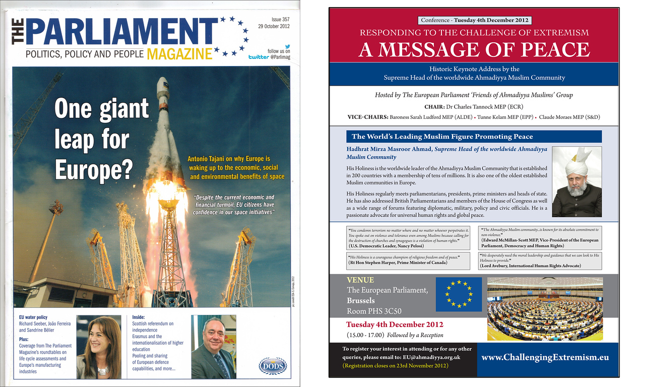 The above full-page advert (right) for this historic event was featured in two editions of European Parliament magazine.
