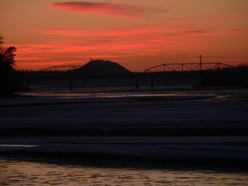 Knik River Bridge on the Old Glenn Highway at sunset.