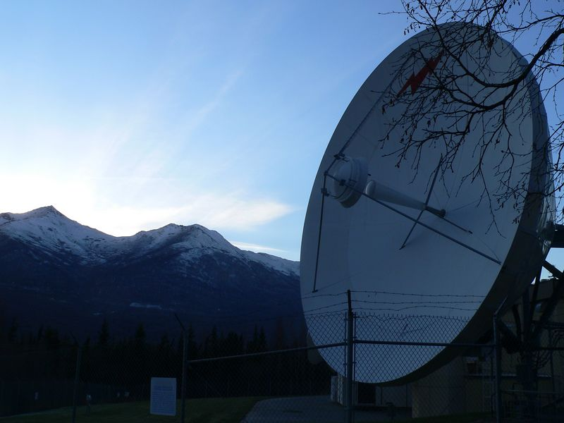 One of three large communication satellite dishes in Eagle River.
