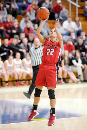 Don Knight / The Herald Bulletin<br /> Frankton's Katie Key shoots as the Eagles faced Wapahani in sectional action at Shenandoah High School on Tuesday.