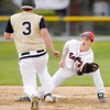 Don Knight | The Herald Bulletin<br /> Frankton second baseman Bryce Mallernee tags Daleville's Brent Blackwell out as he tries to steal second on Wednesday.