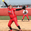 Photo by Chris Martin<br /> Frankton's Tia Sharp pitches in a win against Alexandria Wednesday in the County Softball Tournament