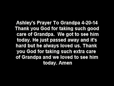 Audio of Ashley's Prayer to Grandpa on Easter