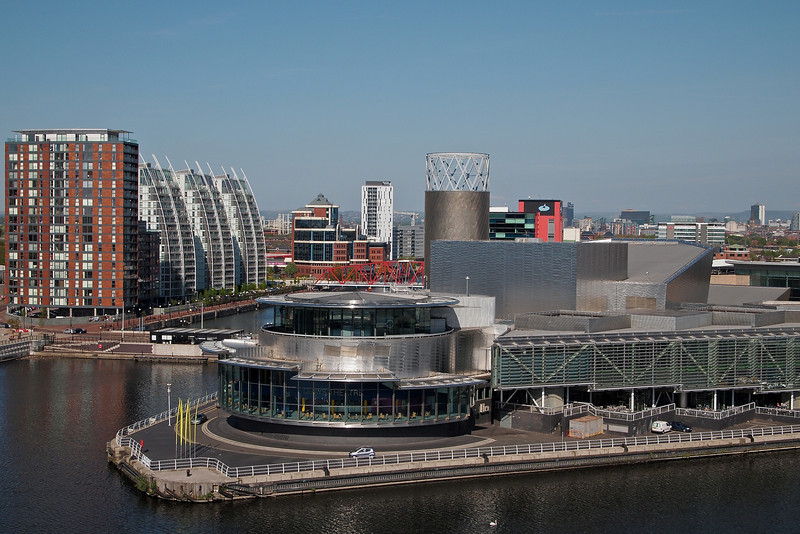 The Lowry and the NV Buildings from the observation deck of Imperial War Museum North