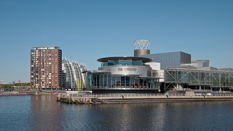 The Lowry Centre and NV Buildings in perfect sunday afernoon light.