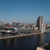 From the observation deck of Imerial War Museum North:  The Lowry Museum, the NV Buildings, the Lowry Bridge, Beetham Tower (very distant) .