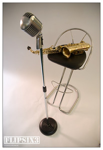Vintage vocal mic, and saxophone
