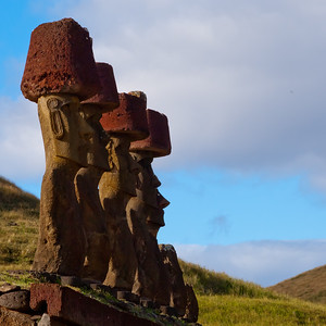 The restored Moai of Anakena