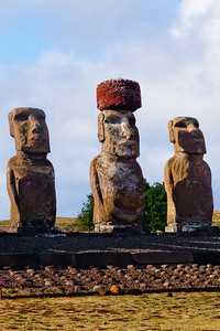 The Moai of an Ahu stood on square pedestals.  Their gaze was upward, overlooking the Poro resting on the sloping platforms before them.  TQ 2010 memory book image 4 of 11