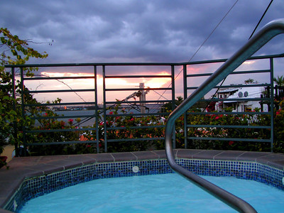 Hot tub on top of hotel overlooking San Juan Bay