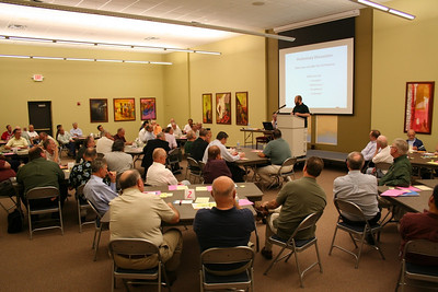 The assembly hears introductory remarks from the moderator, Fr. Greg Murray of the Canadian Region.