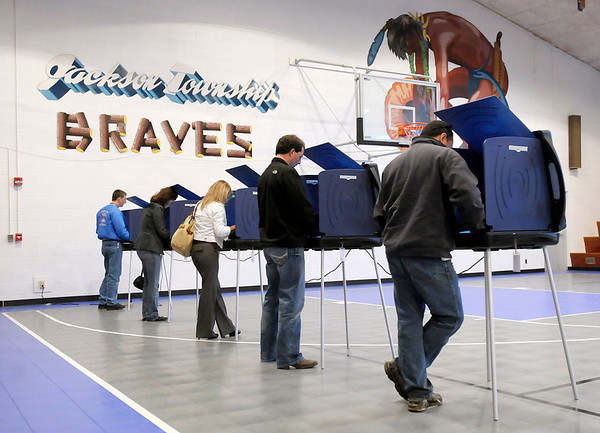Voters cast their ballot at the Frankton-Lapel Community Schools administrative building on County Road 300 North on Tuesday.