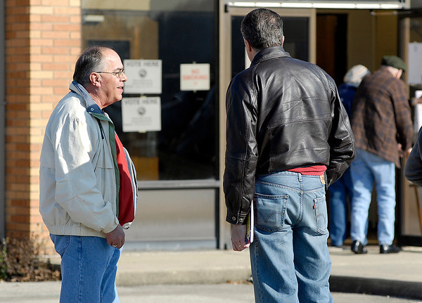 Republican candidate for State Representative District 35 Jack Lutz stops to talk as he goes into vote at Bethany Christian Church Tuesday morning.