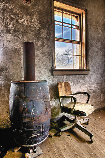 Ghost town Ruby, AZ.School House stove
