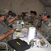 Chow hall at Elk camp.  Paul, Ernest, Louie, Ohmar, Jacob and Dominic, enjoying some of the crub.  It was tuff, but you <br /> have to comprimise when you are out hunting.