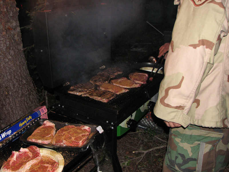 Here is are meager eatings.  We really have it tuff when Elk Hunting.