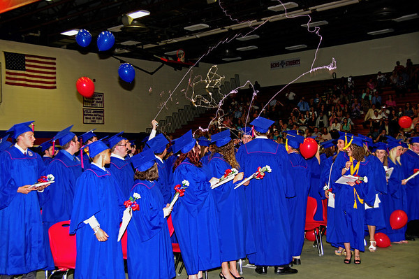 Elwood seniors celebrate their graduation with silly string and a balloon drop.