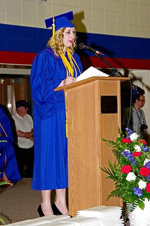 Alison Ashbaugh addresses her classmates during Elwood High School's commencement.