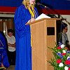 Alison Ashbaugh addresses her classmates during Elwood High School's commencement.