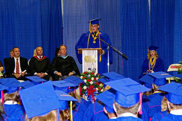 Senior Class President Ben Church addresses his fellow graduates during Elwood High School's commencement ceremony.