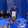 Senior Class President Ben Church addresses his fellow graduates during Elwood High School's commencement ceremony.