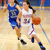 Elwood's Jessie Noone drives towards the basket as the Panthers hosted Eastern Hancock on Wednesday.