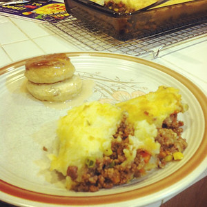 Cottage Pie and Maple Bacon Biscuit. Birthday Dinner