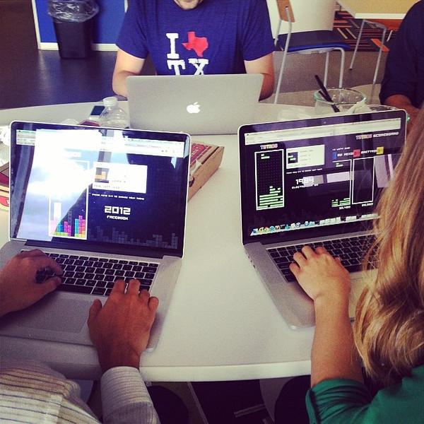 "Software engineers taking a break by playing their homemade Tetris game. via Instagram <a href=""http://ift.tt/1vbt1HD"">http://ift.tt/1vbt1HD</a>"