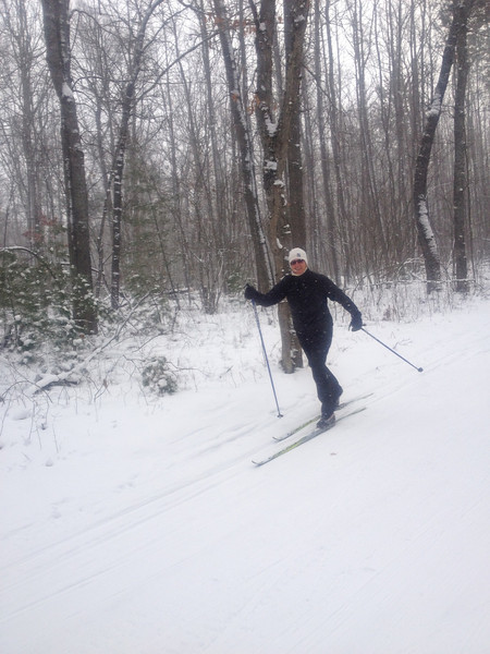 Lynne at Cross Country Ski Headquarters - Smiling at 7F Wednesday Jan 23 - Loves the SCS waxable skis!