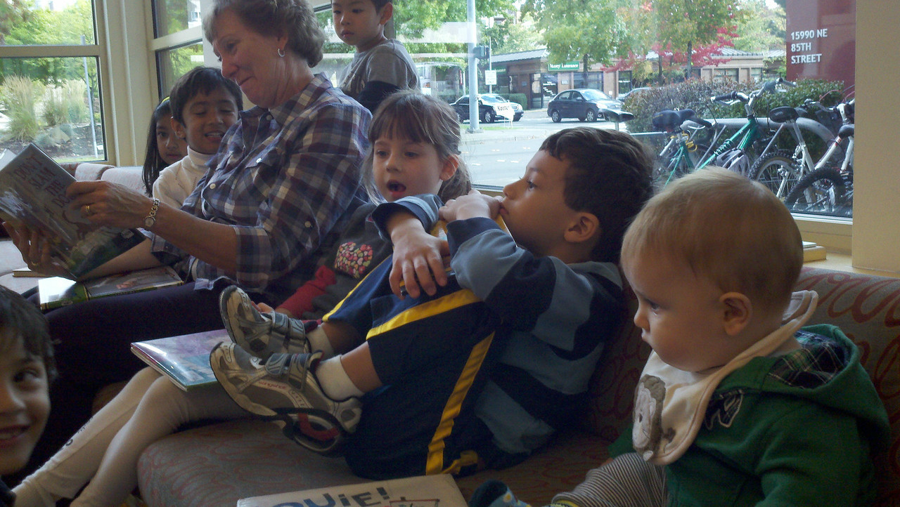 Jeffrey listening intently at the Redmond Public Library.