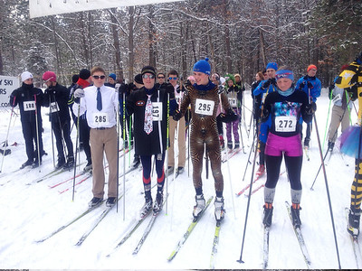 The starting line for the 21st Annual Muffin Race at Cross Country Ski Headquarters. Feb 24, 3013
